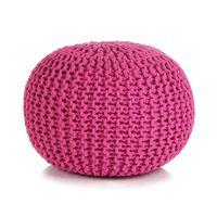 vidaXL Håndstrikket puff bomull 50x35 cm rosa
