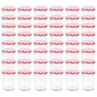 vidaXL Syltetøyglass med hvite og røde lokk 48 stk 400 ml