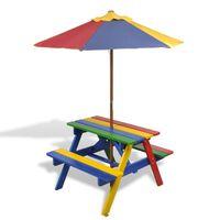 vidaXL Barns piknikbord med benker og parasoll flerfarget tre