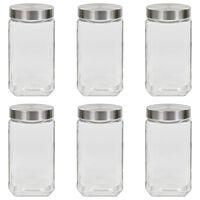 vidaXL Oppbevaringskrukker med sølvt lokk 6 stk 2100 ml
