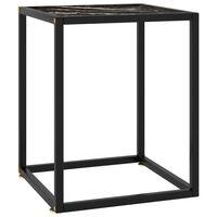 vidaXL Salongbord svart med marmorglass 40x40x50 cm
