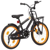 vidaXL Barnesykkel med bagasjebrett foran 18 tommer svart og oransje