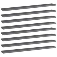 vidaXL Hylleplater 8 stk høyglans grå 80x10x1,5 cm sponplate