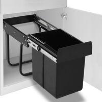 vidaXL Uttrekkbar søppelbøtte til kjøkkenskap myktlukkende 20 L