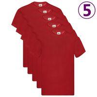 Fruit of the Loom Originale T-skjorter 5 stk rød XL bomull