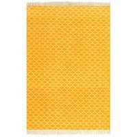 vidaXL Gulvsteppe kilim-vevet bomull med mønster 160x230 cm gul
