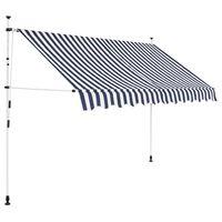 vidaXL Manuell uttrekkbar markise 300 cm blå og hvite striper