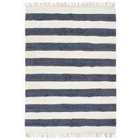 vidaXL Håndvevet Chindi teppe bomull 80x160 cm blå og hvit