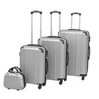 vidaXL 4-delers koffertsett sølv