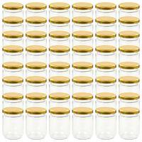 vidaXL Syltetøyglass med gult lokk 48 stk 230 ml