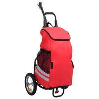 vidaXL Foldbar sykkeltilhenger med dagligvaresekk rød og svart