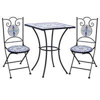 vidaXL Mosaikkbistrosett med keramikkfliser 3 deler blå og hvit
