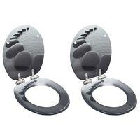 vidaXL Toalettsete med myk lukkefunksjon 2 stk MDF steindesign