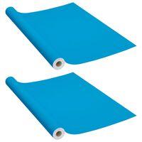 vidaXL Selvklebende møbelfolier 2 stk 500x90 cm PVC asurblå