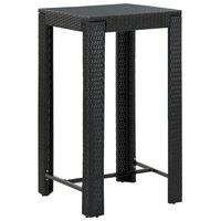 vidaXL Utendørs barbord svart 60,5x60,5x110,5 cm polyrotting