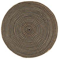 vidaXL Håndlaget juteteppe med spiral-design svart 120 cm