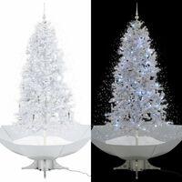 vidaXL Kunstig juletre med snø og paraplyfot hvit 190 cm