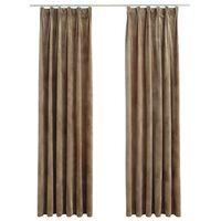 vidaXL Lystette gardiner med kroker 2 stk fløyel beige 140x245 cm