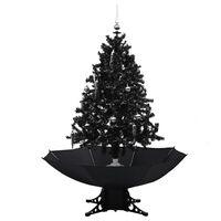 vidaXL Kunstig juletre med snø og paraplyfot svart 140 cm PVC