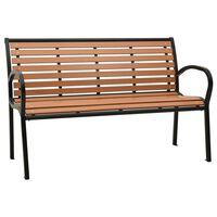 vidaXL Hagebenk 125 cm stål og WPC svart og brun
