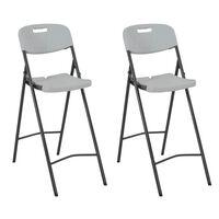vidaXL Sammenleggbare barstoler 2 stk HDPE og stål hvit