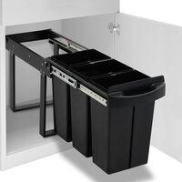 vidaXL Uttrekkbar søppelbøtte til kjøkkenskap myktlukkende 36 L