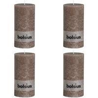 Bolsius Rustikke kubbelys 200 x 100 mm gråbrun 4 stk