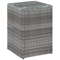 vidaXL Sidebord med glasstopp grå 35x35x52 cm polyrotting