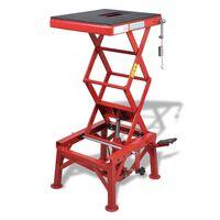 vidaXL Motorsykkelheis 150 kg med fotpute låsestang utløserventil rød