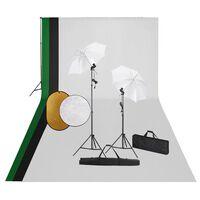 vidaXL Fotostudiosett med lamper, bakgrunn og reflektor