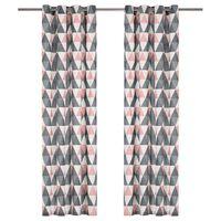 vidaXL Gardiner med metallringer 2 stk bomull 140x245 cm grå og rosa