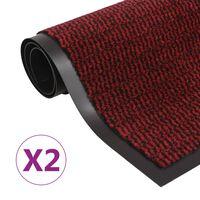 vidaXL Støvkontroll dørmatter 2 stk rektangulær 80x120 cm rød