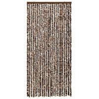 vidaXL Insektgardin brun og hvit 100x220 cm chenille