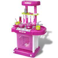 vidaXL Lekekjøkken med lys-/lydeffekt rosa