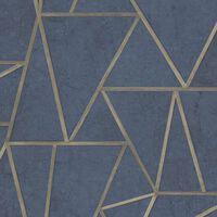 DUTCH WALLCOVERINGS Veggpanel trekanter petrolblå og gull