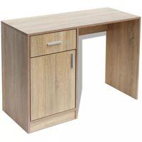 VidaXL Skrivebord med Skuff og Skap Eik 100x40x73 cm
