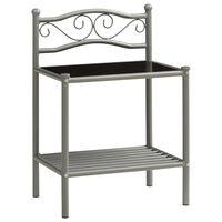 vidaXL Nattbord grå og svart 43x33x65 cm metall og glass