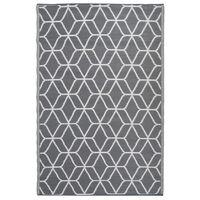 Esschert Design Uteteppe grafikk 180x121 cm grå og hvit OC24
