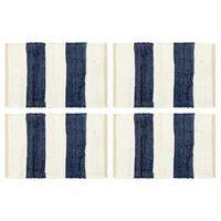 vidaXL Bordmatter 4 stk Chindi stripet blå og hvit 30x45 cm
