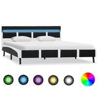vidaXL Sengeramme med LED svart og hvit kunstig skinn 120x190 cm