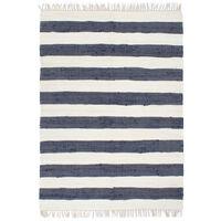 vidaXL Håndvevet Chindi teppe bomull 160x230 cm blå og hvit