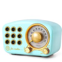 Bluetooth-høyttaler / FM-radio i retro-design, med Aux-kabel, Blå