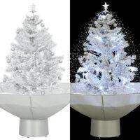 vidaXL Kunstig juletre med snø og paraplyfot hvit 75 cm