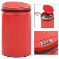 vidaXL Automatisk søppelbøtte med sensor 40 L karbonstål rød