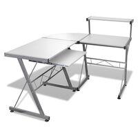 Hvit datamaskin bord med uttrekknings tastatur brett