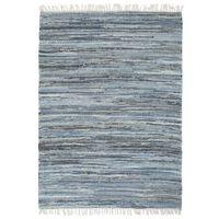 vidaXL Håndvevet Chindi teppe denim 120x170 cm blå