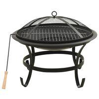 vidaXL 2-i-1 Bålfat og grill med ildrake 56x56x49 cm stål