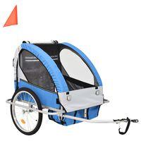 vidaXL 2-i-1 sykkelvogn & barnevogn blå og grå