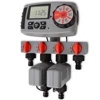 vidaXL Automatisk vanningstimer med 4 stasjoner 3 V
