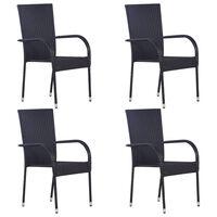 vidaXL Stablestoler 4 stk polyrotting svart